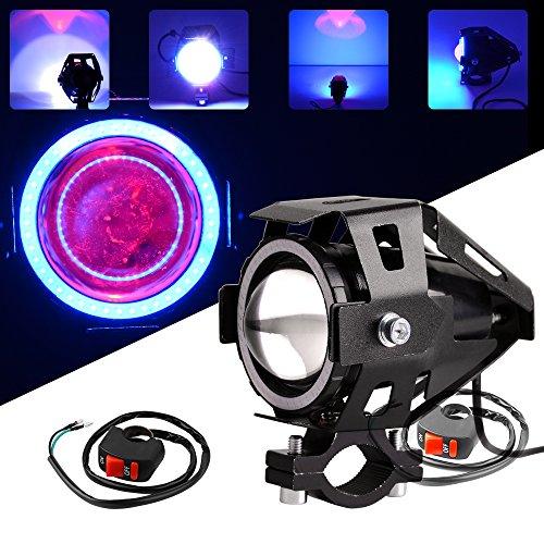 YITAMOTOR 125w Motorcycle LED Headlight U7 Fog Lamp Front Spot Light DRL Spotlight Driving Daytime Lights with Angel Eyes Ring