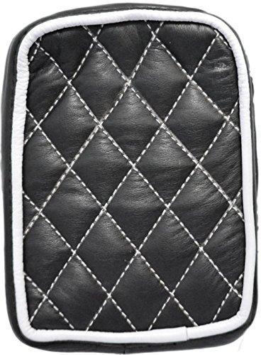 La Rosa Design Universal Rear Passenger Pillion Pad - Black with White Diamond Tuk