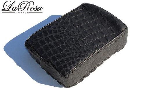 La Rosa Harley-Davidson Universal Black Alligator Design Leather Pillion Pad Passenger Seat