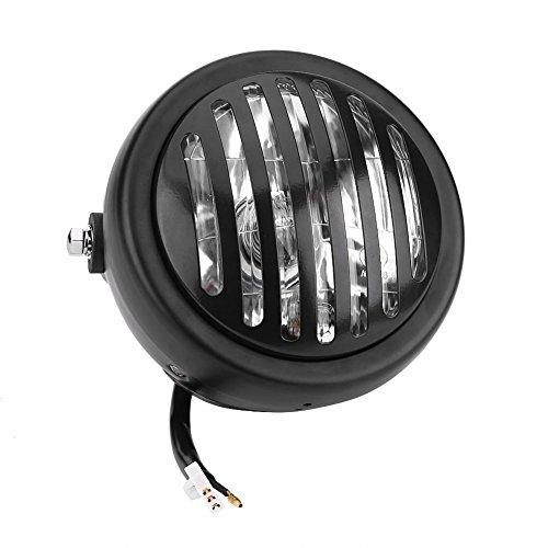 Qiilu 63 Inch Vintage Motorcycle Headlight Headlamp Grill Style Universal for Harley Cafe RacerBlack