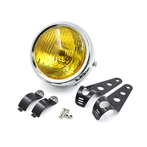 uxcell 63inch Dia 12V 35W Yellow Light Motorcycle Headlamp w Mount Bracket Black for Harley Davidson
