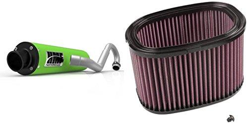 K&N Air Filter HMF Green Performance-Series 34 System Exhaust Turn-Down-Black for Kawasaki Brute Force 750 2015-2017