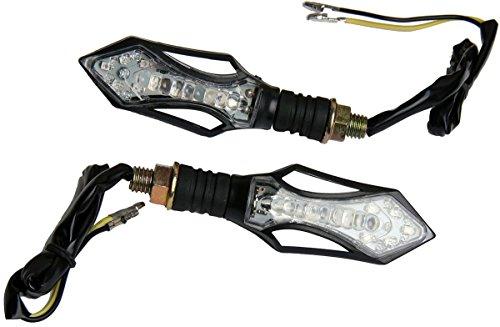 MotorToGo Clear Lens Black Arrow LED Turn Signals Lights Blinkers for 2003 Kawasaki Eliminator 125 BN125A