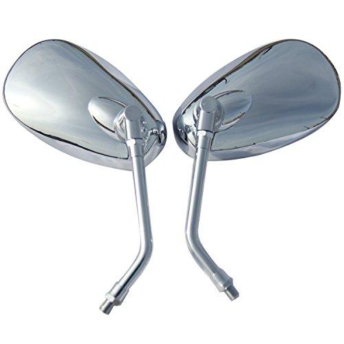 One Pair Chrome Oval Rear View Mirrors for 2001 Kawasaki Eliminator 125 BN125A