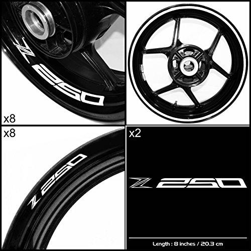 Stickman Vinyls Kawasaki Z250 Motorcycle Decal Sticker Package Gloss White Graphic Kit