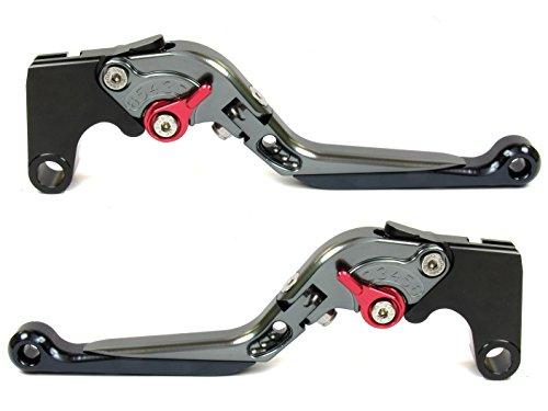 Emotion Extreme-Extendable-Foldable-Series Motorcycle Clutch Brake Lever Set for Kawasaki ER-5 2004-2005 - Red  Titanium-Black AdjusterLever