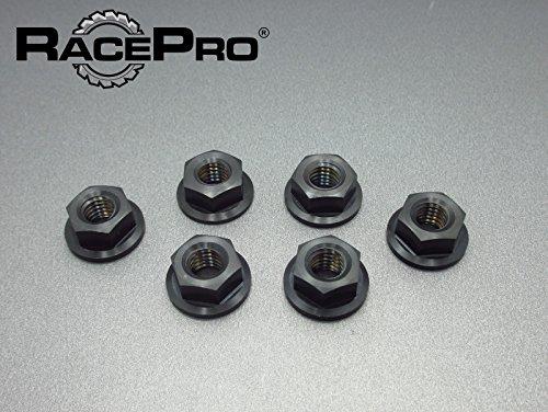 RacePro - Kawasaki ZR 550 1991 x6 Titanium Rear Sprocket Nuts -Black
