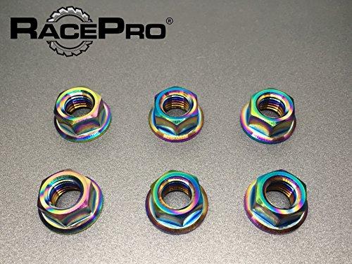 RacePro - Kawasaki ZR 550 1991 x6 Titanium Rear Sprocket Nuts -Rainbow