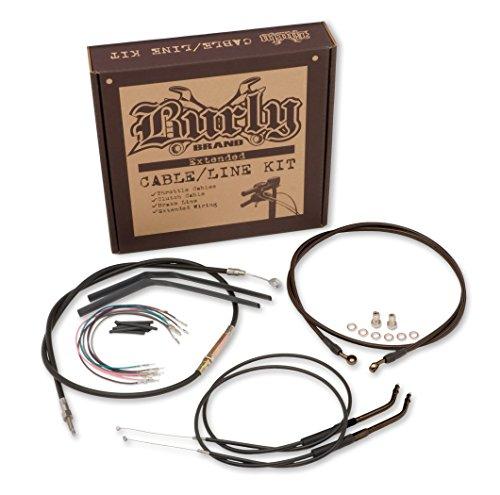 Burly Brand Black 16 Ape Hanger CableBrakeWiring Kit