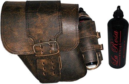 La Rosa Rustic Brown Leather Solo Strap Harley Dyna Model Left Saddlebag  Gas Bottle