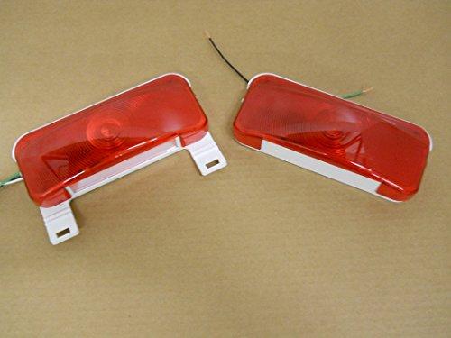 (2) Rv Camper Trailer Stop Turn Brake Tail Lights / License Light / White Base