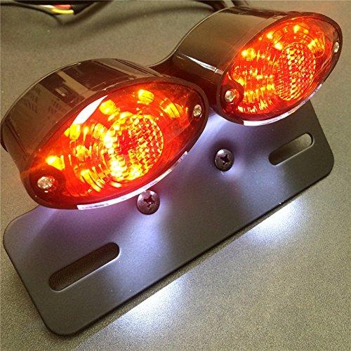 Universal Cat Eye Custom Motorcycle Tail Brake License Plate Light Black Red