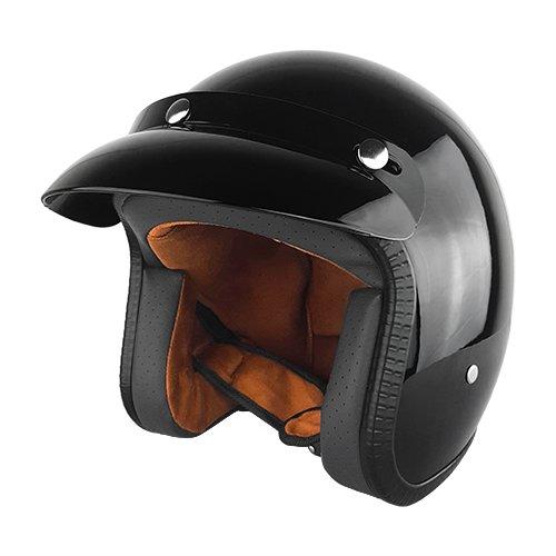 Black Three Quarter Motorcycle Helmet  Gloss  -  X-Large