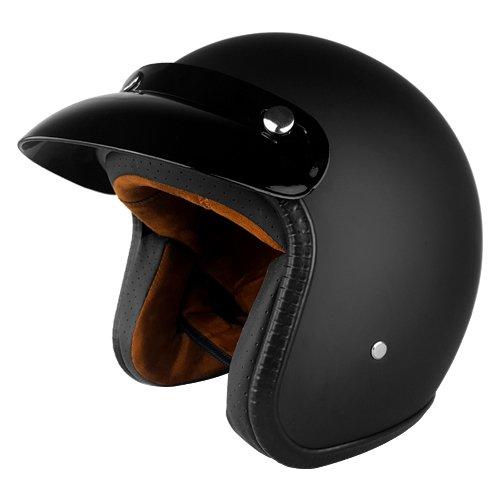 Black Three Quarter Motorcycle Helmet  Matte  -  Medium