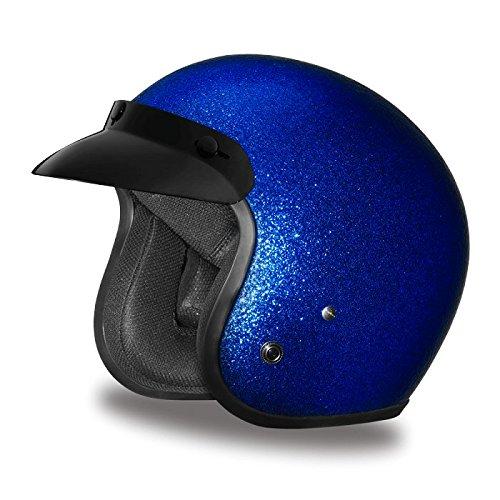 DOT Blue Metal Flake Three Quarter 34 Open Face Motorcycle Helmet Size 2XL XX-Large