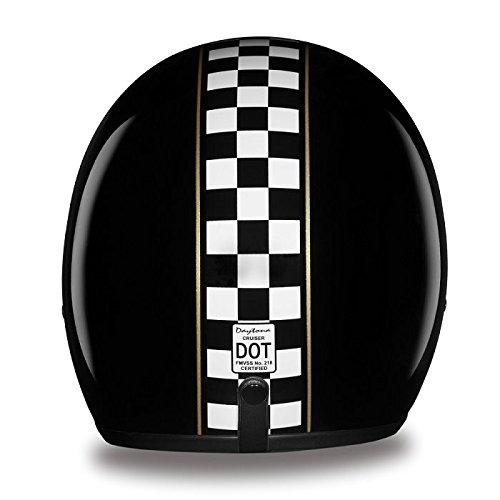 DOT Checkered Flag Three Quarter 34 Open Face Motorcycle Helmet Size M MD Medium