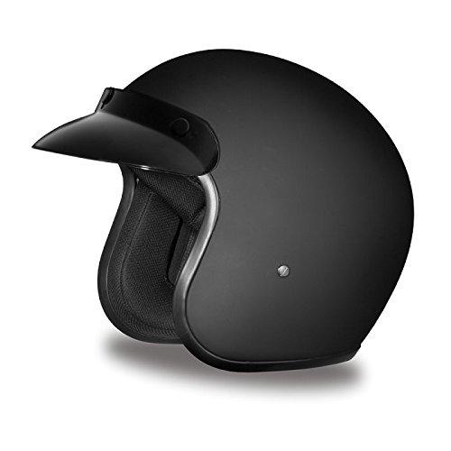DOT Flat Black Three Quarter 34 Open Face Motorcycle Helmet Size M MD Medium