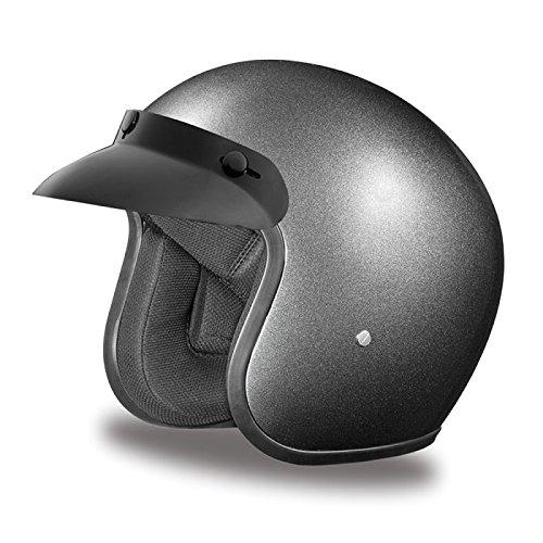 DOT Gun Metal Gray Three Quarter 34 Open Face Motorcycle Helmet Size 2XL XX-Large