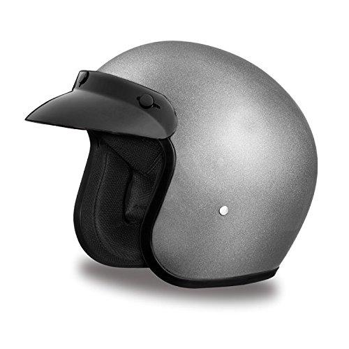 DOT Metallic Gray Three Quarter 34 Open Face Motorcycle Helmet Size 2XL XX-Large