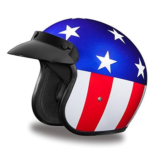 DOT US Flag Captain America Three Quarter 34 Open Face Motorcycle Helmet Size M MD Medium
