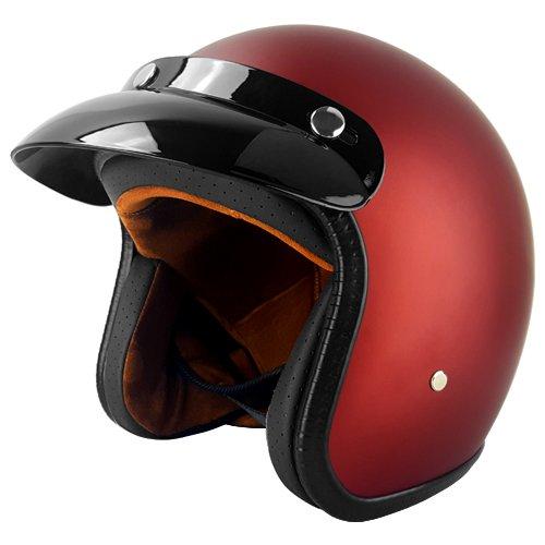 Red Three Quarter Motorcycle Helmet  Matte  -  X-Large