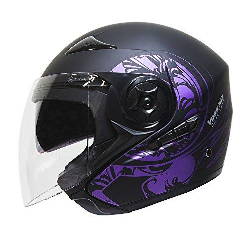 Voss 303 Purple Eclipse Dual Lens DOT Three Quarter Helmet with Integrated Sun Lens and Quick Release System - M - Metallic Purple Matte Black