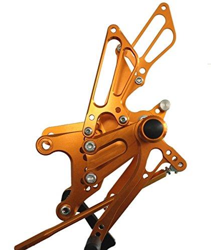 Gold Motorstar Motorcycle CNC Aluminum Billet Adjustable Rear Foot Pegs Rearsets fit for Kawasaki ZX6R 2005 2006 2007 2008