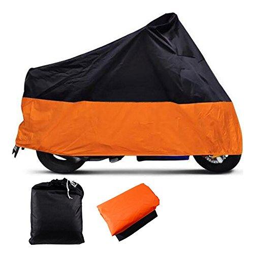 XXXL Indoor Outdoor Motorcycle Cover Water Resistant Dustproof UV Protective Breathable OrangeBlack w Carry Bag