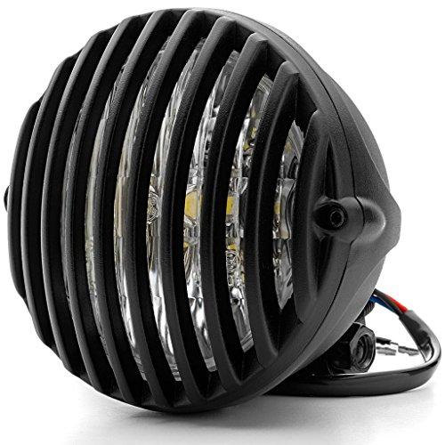 Krator 5 Black Vintage Antique Style Grill Prison Chopper Motorcycle Bobber Headlight For Harley Davidson Dyna Super Glide Sport