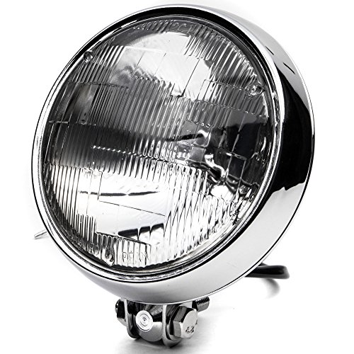 Krator 6 Chrome Motorcycle Headlight Bottom Mount Running Light Thin High  Low Beam for Harley Davidson 125 175 250 350 750 1000