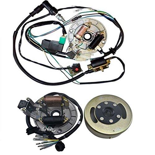 ZXTDR Wire Harness CDI Ignition Coil Spark Plug Kill Switch Magneto Stator Plate Flywheel Assembly Kit for Kick Start Dirt Pit Bike 50-125cc