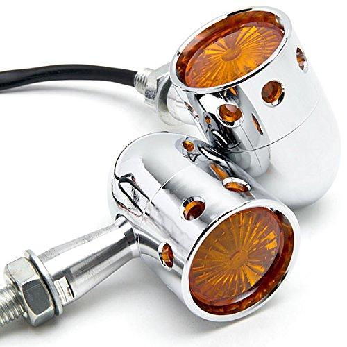 Krator 2pcs Chrome Motorcycle Turn Signals Blinker Lights For Harley Davidson XL Sportster 1200 Custom
