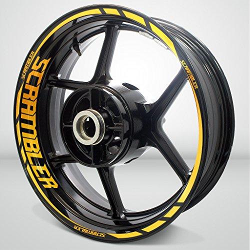 Reflective Yellow Motorcycle Rim Wheel Decal Accessory Sticker for Ducati Scrambler