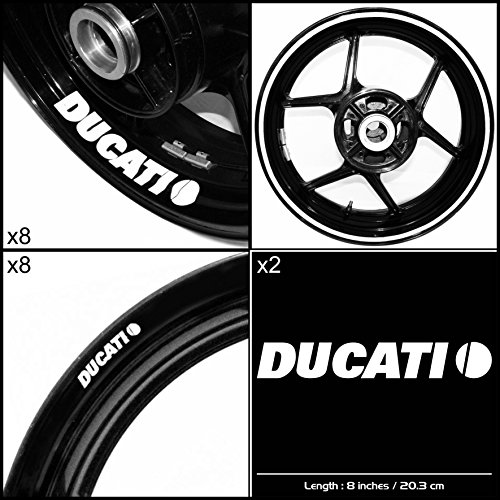 Stickman Vinyls Ducati Motorcycle Decal Sticker Package Gloss White Graphic Kit