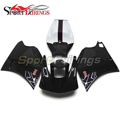 Sportfairings Motorbike Gloss Black White Injection Complete Fairing Kits For DUCATI 996 748 916 998 Monoposto 1996-2002 Fiberglass Racing Fairing