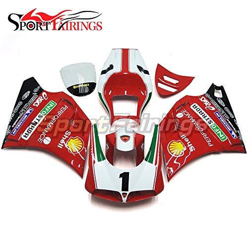 Sportfairings Motorbike Injection ABS Plastic Fairing Kits For DUCATI 996 748 916 998 Monoposto 1996-1999 2000 2001 2002 Red White 1