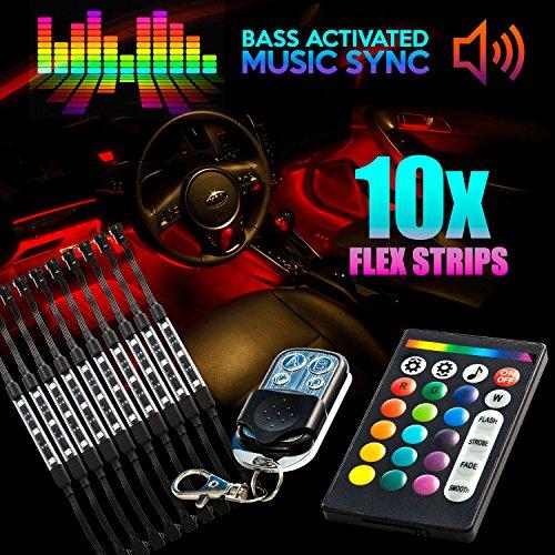 18 Color 10pcs RGB Motorcycle ATV Flexible Strip LED Light Lamp NEON Remote Kit for Ducati Sport Classic GT 1000 ST2 ST3 ST4