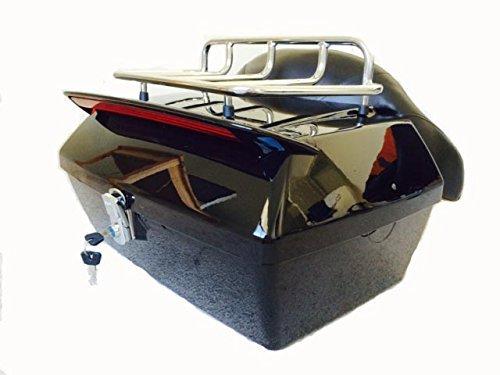 DMY Motorcycle TourPak Luggage Trunk w Top Rack Brackrest and Wings
