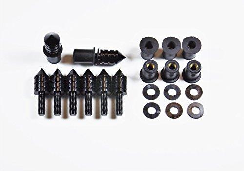 Universal Black Spike Bolt WellNut Kit - Windscreen Replacement Kit Replaces Windshields on Honda Kawasaki Suzuki Yamaha Ducati Triumph - 8 Bolt Set