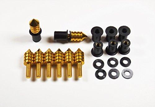 Universal Gold Spike Bolt WellNut Kit - Windscreen Replacement Kit Replaces Windshields on Honda Kawasaki Suzuki Yamaha Ducati Triumph - 8 Bolt Set
