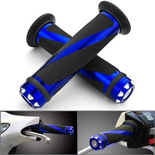 Astra Depot 2pcs Universal Blue Motorcycle Grips with Billet Aluminum Bar End Cap Plug Slider For 78