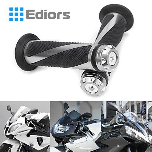 Ediors 2 pic Universal Gunmetal Motorcycle Grips with Billet Aluminum Bar End Cap Plug Slider For 78 Handlebar Motorcycle YZF Ninja CBR GSX ZX CB CRF