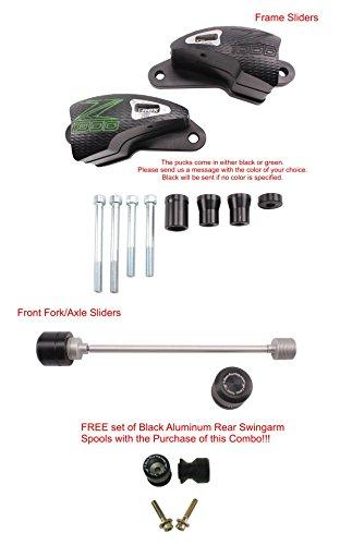 T-rex Racing 2014 - 2016 Kawasaki Z1000 Abs Frame Sliders Front Axle Slider Spools No Cut - Green