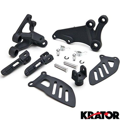 Krator Suzuki GSXR 600 2006-2010  GSXR 750 2006-2008 Front Foot Rests Assembly Kit Frame Fitting Stay Footrests Step Bracket Assembly