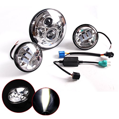 7 Inch Chrome Harley Daymaker LED Headlight 2x 4-12 Fog Light Passing Lamps for Harley Davidson Motorcycle