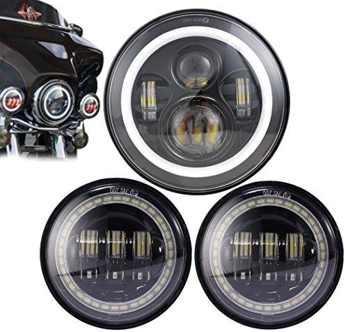 COWONE 7 Inch Harley Black Daymaker LED Headlight  4-12 45inch 30W OSRAM Motorcycle Fog Light Led Fog Lamp for Harley Davidson Motorcycle