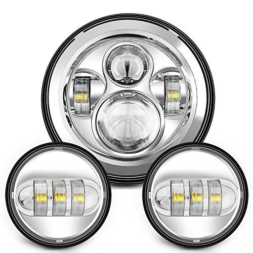 Sunpie 7 Inch Chrome Harley Daymaker LED Headlight 2x 4-12 Fog Light Passing Lamps for Harley Davidson Motorcycle