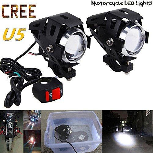 GOODKSSOP 2PCS Super Bright 125W 3000LM CREE U5 LED Motorcycle Universal Electric Bike Spotlight Headlight Work Light Driving Fog Spot Lamp Night Safety Headlamp  1pcs Free Switch