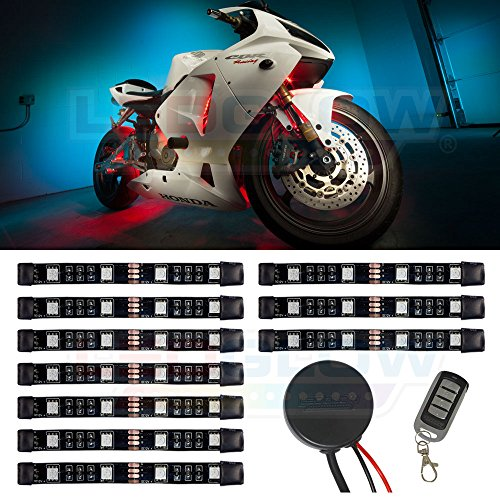 LEDGlow 10pc Advanced Million Color Mini Motorcycle LED Light Kit - Waterproof Flexible Light Strips - Includes Wireless Remote