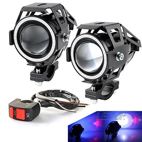 LEDUR LED U7 Motorcycle Headlight DRL Fog with Angel Eyes Lights Ring Driving Running Lights Front Spotlight Strobe Flashing White Light and Swith2 PCSBlue Halo